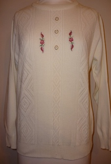Long Sleeve Embroidered Jumper - Cream