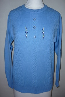 Nicole Lewis Embroidered Jumper - Cornflower Blue