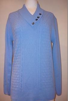Nicole Lewis 4 Button Collar Jumper - Cornflower Blue