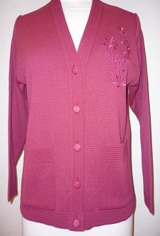 Nicole Lewis Embroidered Cardigan - Raspberry