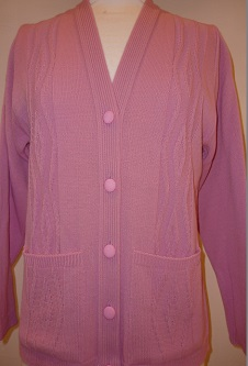 Nicole Lewis V-Neck Cable Cardigan - Rose Pink