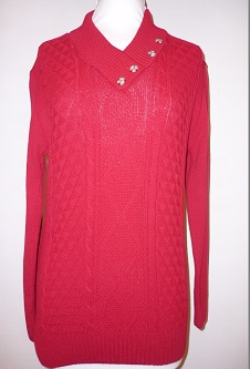 Nicole Lewis 4 Button Collar Jumper - Red