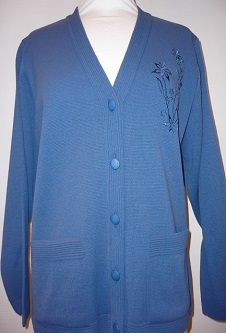 Nicole Lewis Embroidered Cardigan - Denim Blue