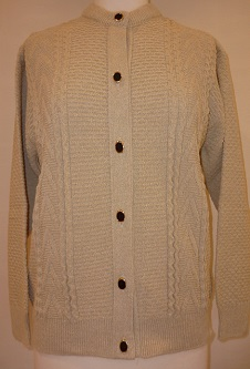 Nicole Lewis Round Neck Cable Cardigan - Oatmeal