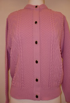Nicole Lewis Round Neck Cable Cardigan - Rose Pink