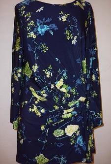 Nicole Lewis L/S Tie Side Top - Navy/Lemon Floral