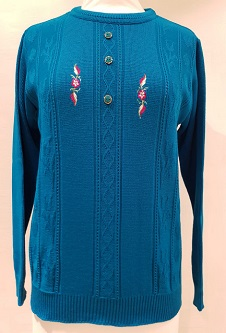 Nicole Lewis Embroidered Jumper IV -Jade Green