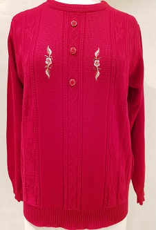 Nicole Lewis Embroidered Jumper IV - Red