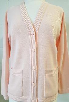 Nicole Lewis Embroidered Cardigan - Soft Peach