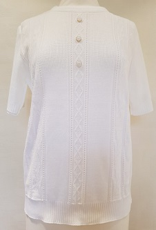 Nicole Lewis Short Sleeve Roundneck Jumper - White