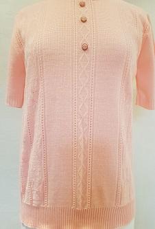 Nicole Lewis Short Sleeve Roundneck Jumper - Soft Peach