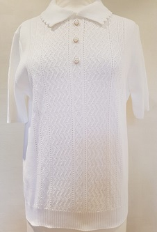Nicole Lewis Short Sleeve Collar Jumper - White