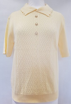 Nicole Lewis Short Sleeve Collar Jumper - Lemon