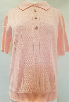 Nicole Lewis Short Sleeve Collar Jumper - Soft Peach