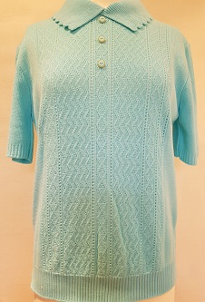 Nicole Lewis Short Sleeve Collar Jumper - Aqua