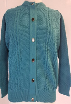 Nicole Lewis Round Neck Cable Cardigan - Teal