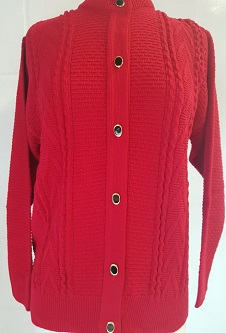 Nicole Lewis Round Neck Cable Cardigan - Red