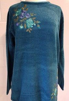Nicole Lewis Chenille Embroidered Jumper - Teal