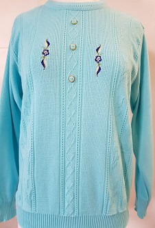 Nicole Lewis Embroidered Jumper IV - Aqua