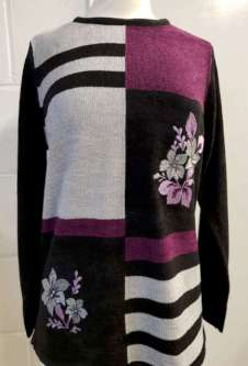 Nicole Lewis Boucle Jumper w/Floral - Black/Wine/Grey
