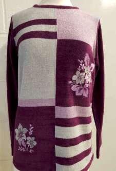 Nicole Lewis Boucle Jumper w/Floral - Wine/Pink/Grey