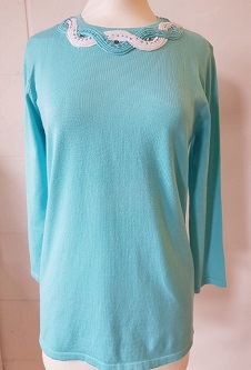 Nicole Lewis Spring Jumper Detailed Round Neck - Aqua