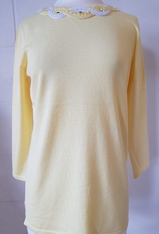 Nicole Lewis Spring Jumper Detailed Round Neck - Lemon