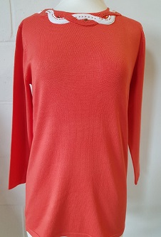 Nicole Lewis Spring Jumper Detailed Round Neck - Coral