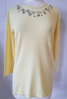 Nicole Lewis Spring Jumper Detailed Round Neck II - Lemon