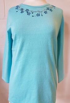 Nicole Lewis Spring Jumper Detailed Round Neck II - Aqua
