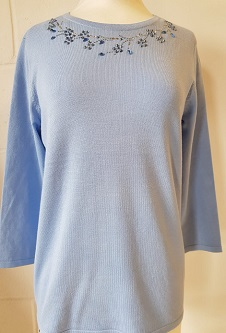 Nicole Lewis Spring Jumper Detailed Round Neck II - Powder Blue