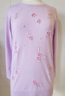 Nicole Lewis Spring Jumper 3/4 Sleeve Beading - Soft Lilac