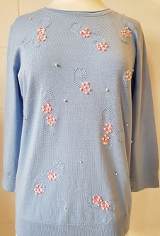 Nicole Lewis Spring Jumper 3/4 Sleeve Beading - Powder Blue