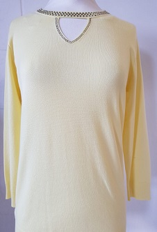 Nicole Lewis Spring Jumper Cut Out Neck Detail - Lemon