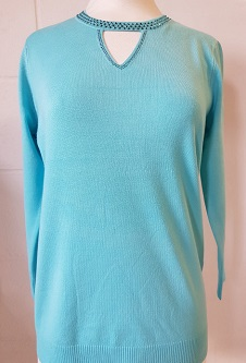 Nicole Lewis Spring Jumper Cut Out Neck Detail - Aqua