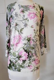 Nicole Lewis 3/4 Sleeve Spring Jumper Floral Design - Pink