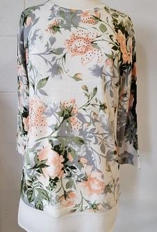 Nicole Lewis 3/4 Sleeve Spring Jumper Floral Design - Peach