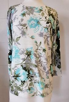 Nicole Lewis 3/4 Sleeve Spring Jumper Floral Design - Aqua