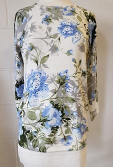 Nicole Lewis 3/4 Sleeve Spring Jumper Floral Design - Blue