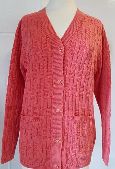 Nicole Lewis Cable Knit Cardigan V Neck Pockets - Coral