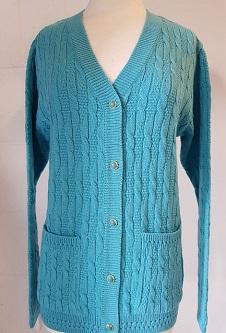 Nicole Lewis Cable Knit Cardigan V Neck Pockets - Aqua