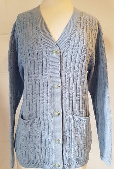 Nicole Lewis Cable Knit Cardigan V Neck Pockets - Powder Blue