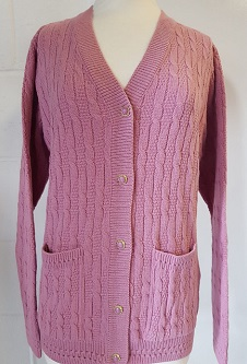 Nicole Lewis Cable Knit Cardigan V Neck Pockets - Pink