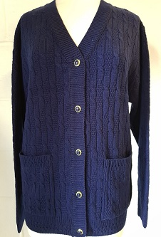 Nicole Lewis Cable Knit Cardigan V Neck Pockets - Navy