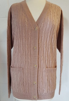 Nicole Lewis Cable Knit Cardigan V Neck Pockets - Soft Peach