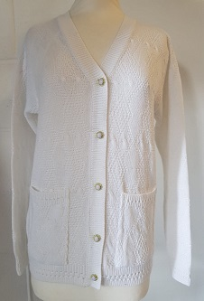 Nicole Lewis V-Neck Diamond Design Cardigan - White