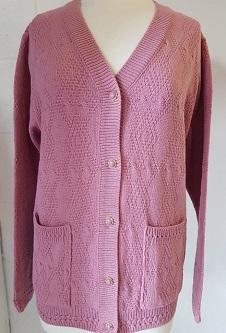 Nicole Lewis V-Neck Diamond Design Cardigan - Pink