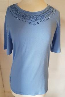 Nicole Lewis Embroidery T-shirt Round Neck - Powder Blue