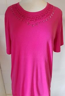 Nicole Lewis Embroidery T-shirt Round Neck - Cerise
