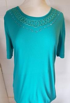 Nicole Lewis Embroidery T-shirt Round Neck - Jade